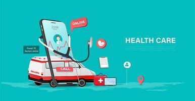 cartaz de cuidados de saúde on-line com telefone e ambulância