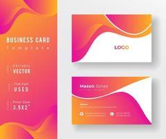 pinke e modelo de cartão de negócios gradiente alaranjado vetor