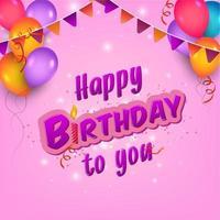 panfleto de aniversário rosa com guirlanda colorida e balões vetor