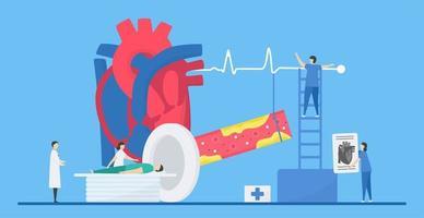 conceito de cardiologia com paciente recebendo ressonância magnética vetor