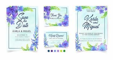 artigos de papelaria de casamento em estilo aquarela floral azul