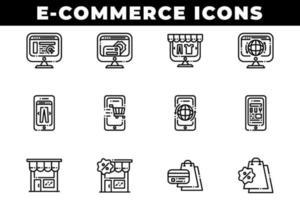 ícones de compras de comércio eletrônico, incluindo computadores e telefones vetor