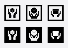 Alça livre com ícone de vetor de etiqueta de cuidado