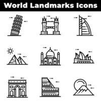 ícones de referência mundial, incluindo pirâmides vetor
