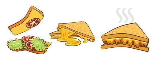 conjunto de sanduíches de queijo grelhado vetor