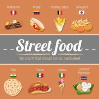 cartaz global de comida de rua vetor