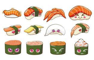 conjunto de sushi de estilo kawaii vetor