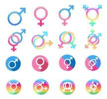 conjunto de símbolos de gênero colorido