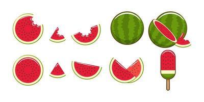 conjunto de melancia dos desenhos animados vetor