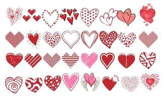 coleção de coração doodle vetor