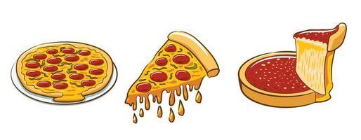 conjunto de várias pizzas