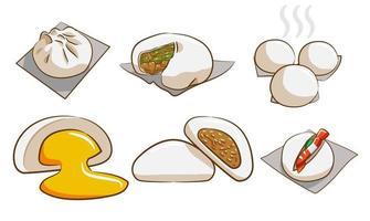 conjunto de pão cozido no vapor vetor