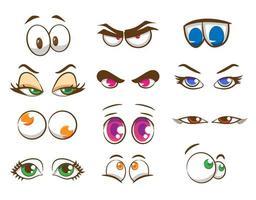 conjunto de olhos de desenho animado vetor