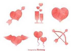 Ícones de aquarela de amor vetor