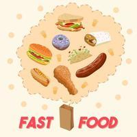 cartaz dos desenhos animados de fast-food vetor