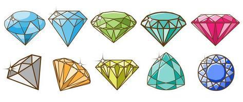 conjunto de gemas multicoloridas vetor