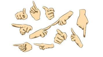 apontando o conjunto de mãos vetor