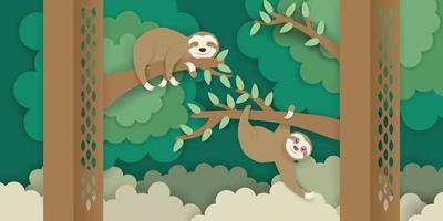 preguiças subindo nos galhos vetor