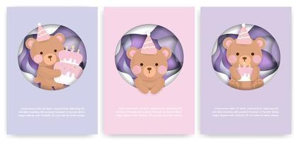 cartão de corte de papel definido com ursos de aniversário fofo vetor