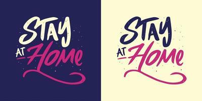 fique em casa lettering em 2 variações de cor vetor