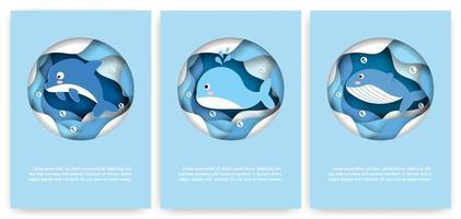 cartão de corte de papel conjunto com baleias e golfinhos vetor