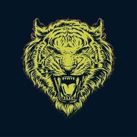 cabeça de tigre amarelo desenhada de mão vetor