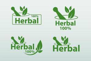 conjunto de logotipo de ervas verdes vetor