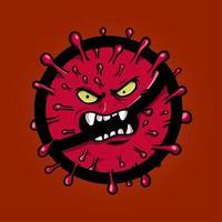 monstro de coronavírus no símbolo de aviso vetor