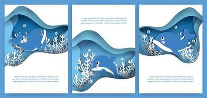 cartão de corte de papel definido com golfinho fofo vetor