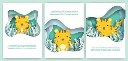 cartão de corte de papel definido com tigre fofo vetor