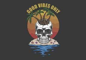 praia do crânio boas vibrações apenas vetor