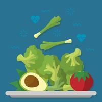 cartaz de alimentos naturais saudáveis vetor
