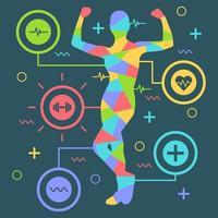 silhueta colorida de mulheres flexionando os braços vetor