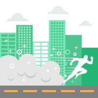 silhueta branca do homem correndo pela cidade vetor