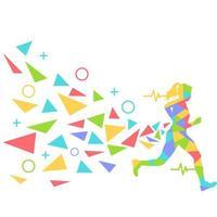 silhueta feminina colorida correndo vetor