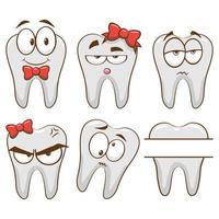 conjunto de desenhos animados de dente vetor