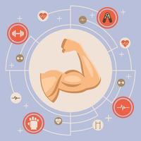 braço muscular flexionando em círculo com ícones circundantes vetor