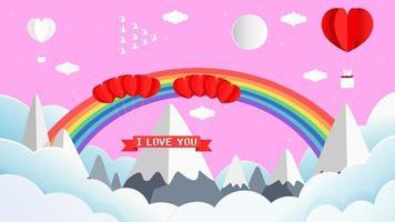 papel 3d dia dos namorados saudação com arco-íris e montanha vetor