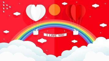cartão de dia dos namorados com balões de ar quente de papel 3d vetor