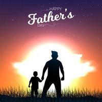 cartão de dia dos pais com pai e filho caminhando ao pôr do sol vetor