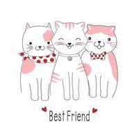 melhores amigos de gato de desenho animado vetor