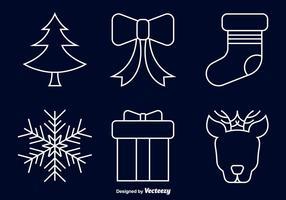 Ícones de linha de Natal vetor