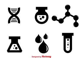 Ícones pretos de laboratório vetor