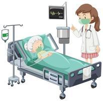paciente doente no hospital com enfermeira vetor