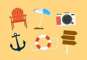 Conjunto de objetos de praia no vetor
