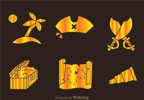 Ícones dourados do caçador de tesouros