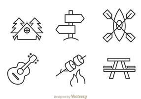 Ícones de desenho de acampamento e aventura vetor