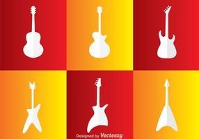 Ícones brancos de guitarra vetor