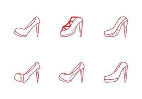 Conjunto de ícones Ruby Shoes grátis vetor