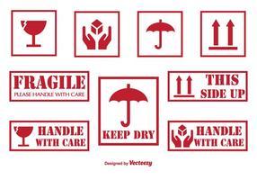 Manuscate com etiquetas e ícones de cuidados vetor